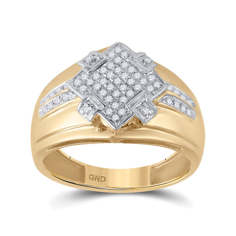 10kt Yellow Gold Mens Round Diamond Offset Square Cluster Ring 1/3 Cttw