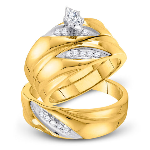 10kt Yellow Gold His Hers Marquise Diamond Solitaire Matching Wedding Set 1/4 Cttw