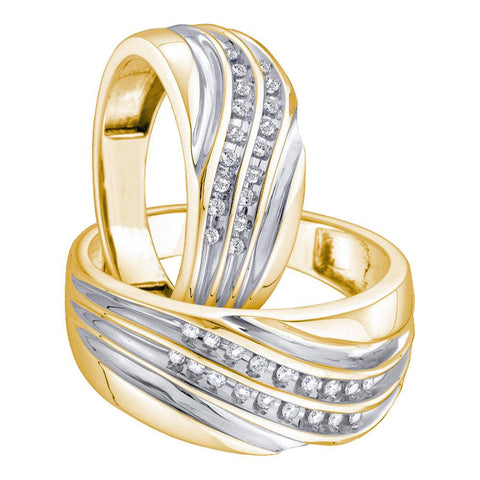10kt Yellow Gold His Hers Round Diamond Band Matching Wedding Set 1/3 Cttw