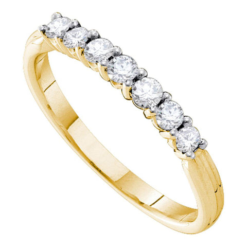 14kt Yellow Gold Womens Round Diamond Slender 2mm Wedding Band 1/3 Cttw