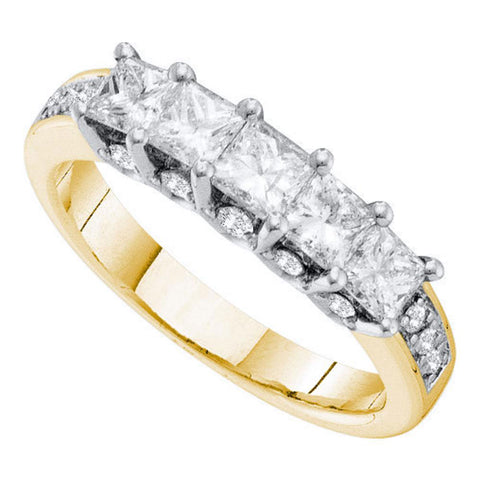 14kt Yellow Gold Womens Princess Diamond 5-stone Wedding Anniversary Ring 1-1/2 Cttw