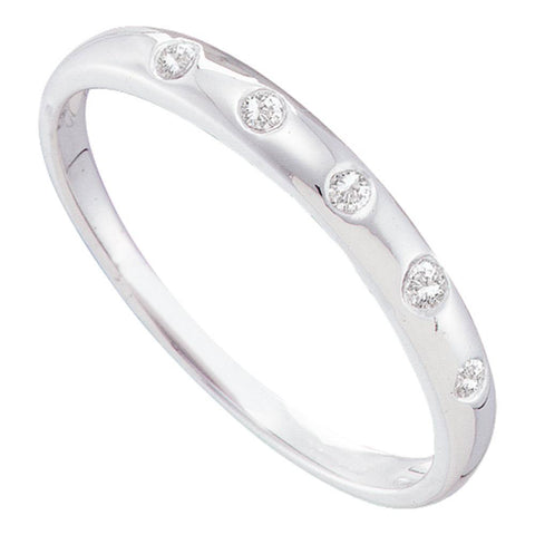 14kt White Gold Womens Round Diamond 5-Stone Bezel Band Ring 1/20 Cttw
