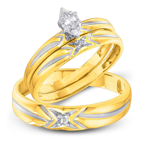 10kt Yellow Gold His Hers Marquise Diamond Matching Wedding Set 1/10 Cttw