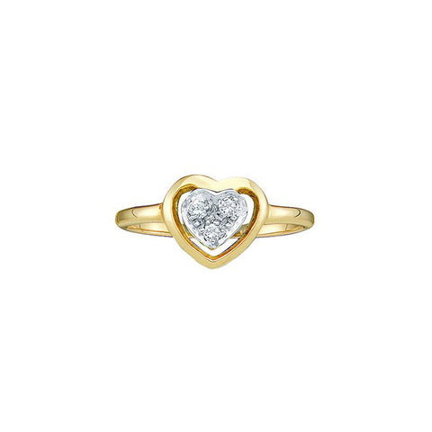 10kt Yellow Gold Womens Round Diamond Simple Heart Cluster Ring 1/20 Cttw