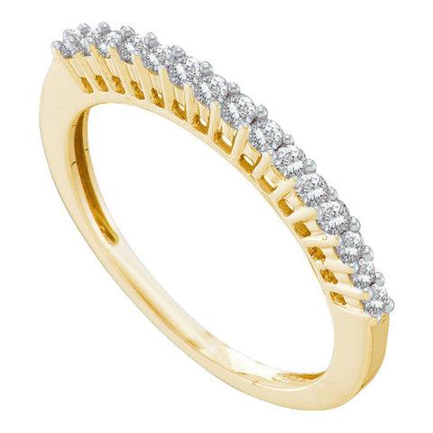 14kt Yellow Gold Womens Round Diamond Wedding Single Row Band 1/4 Cttw