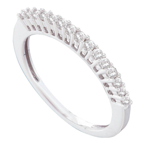 14kt White Gold Womens Round Diamond Single Row Band Ring 1/4 Cttw