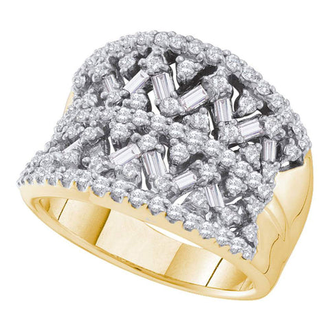 14kt Yellow Gold Womens Round Baguette Diamond Fashion Band Ring 1-1/4 Cttw