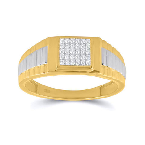14kt Two-tone Gold Mens Princess Diamond Ribbed Cluster Ring 1/4 Cttw