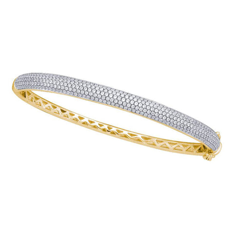 14kt Yellow Gold Womens Round Diamond Pave Bangle Bracelet 2 Cttw