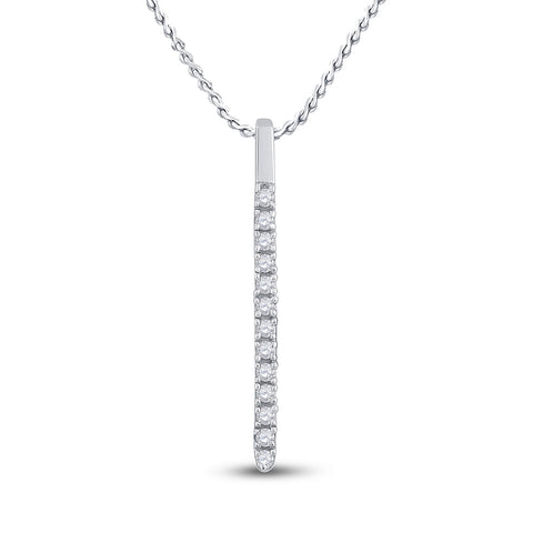 14kt White Gold Womens Round Diamond Bar Pendant 1/10 Cttw