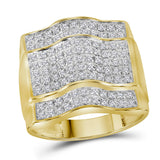 10kt Yellow Gold Mens Round Diamond Arched Square Cluster Ring 1 Cttw