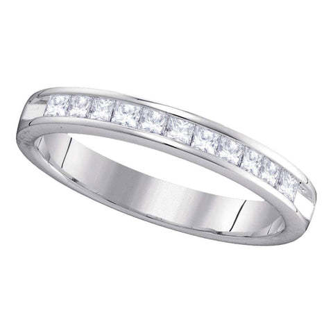 14kt White Gold Womens Princess Diamond Single Row Wedding Band 1/2 Cttw