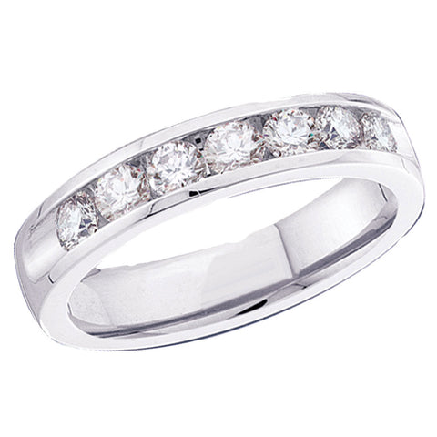 14kt White Gold Womens Round Diamond Wedding Single Row Band 1/8 Cttw