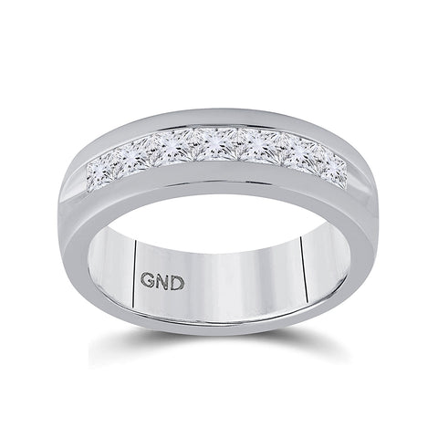 14kt White Gold Mens Machine Set Princess Diamond Wedding Channel Band Ring 1-1/2 Cttw