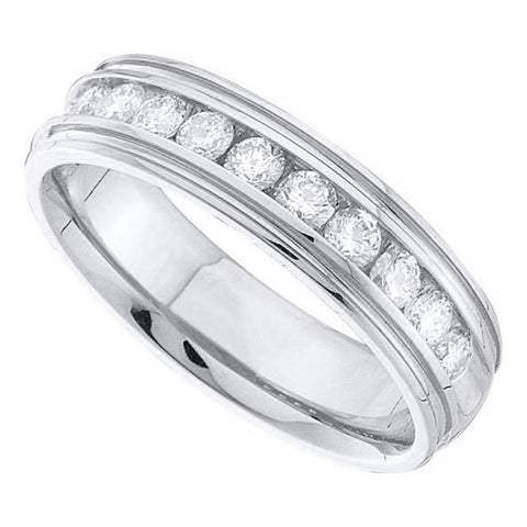 14k White Gold Mens Round Diamond Band Ridged Edge Wedding Band 1/4 Ctw