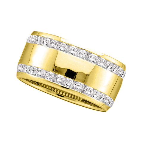 14kt Yellow Gold Womens Round Channel-set Diamond Double Row Wedding Band 1 Cttw