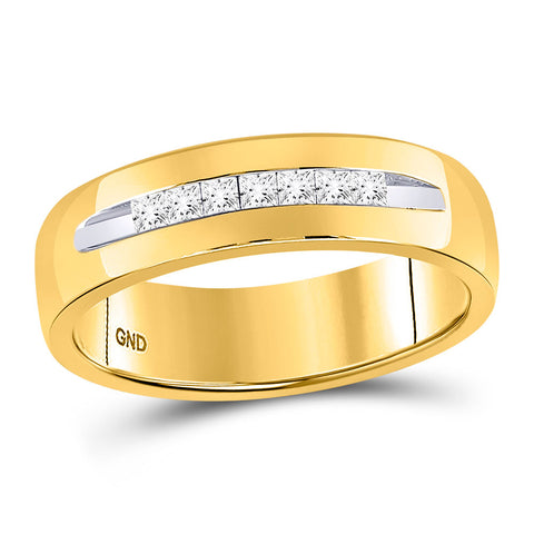 14kt Yellow Gold Mens Princess Diamond Wedding Band Ring 1/4 Cttw