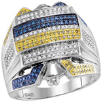 10kt White Gold Mens Round Yellow Blue Color Enhanced Diamond Cluster Ring 3/4 Cttw