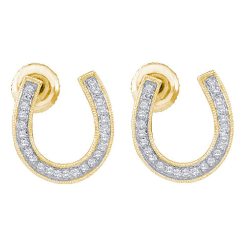 10kt Yellow Gold Womens Round Diamond Horseshoe Earrings 1/6 Cttw