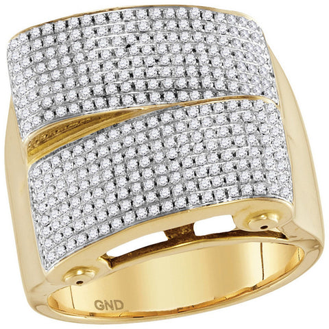 10kt Yellow Gold Mens Round Pave-set Diamond Rectangle Cluster Ring 1 Cttw