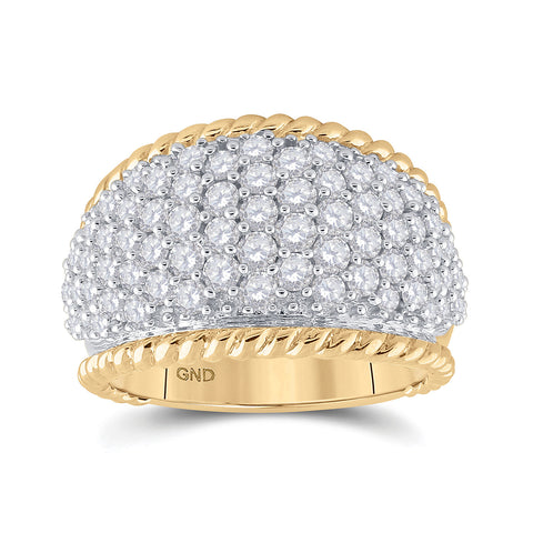 10kt Yellow Gold Womens Round Diamond Pave Rope Band Ring 2 Cttw