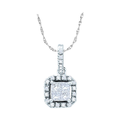 14kt White Gold Womens Princess Diamond Square Frame Pendant 1/4 Cttw