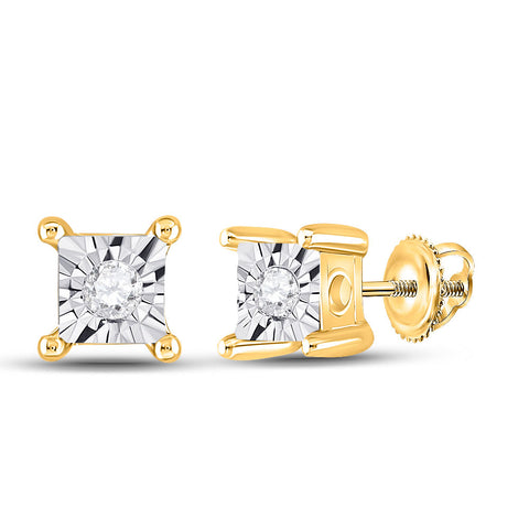 10kt Yellow Gold Womens Round Diamond Miracle Stud Earrings 1/20 Cttw