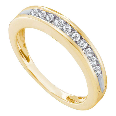 10kt Yellow Gold Womens Round Diamond Wedding Single Row Band 1/4 Cttw