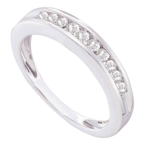 10kt White Gold Womens Round Diamond Single Row Band Ring 1/4 Cttw
