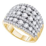 14kt Yellow Gold Womens Round Diamond Symmetrical Fashion Band Ring 2 Cttw