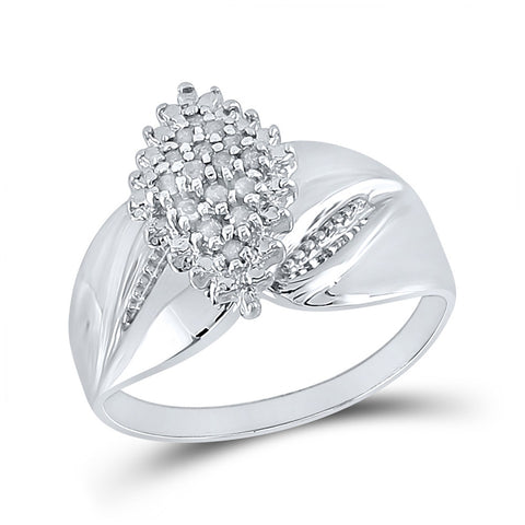 Sterling Silver Womens Round Diamond Cluster Ring 1/8 Cttw