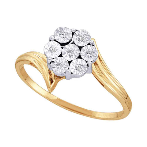 10kt Yellow Gold Womens Round Diamond Miracle Flower Cluster Ring 1/20 Cttw