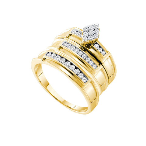 14kt Yellow Gold His Hers Round Diamond Cluster Matching Wedding Set 1/2 Cttw