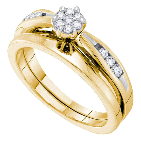 14k Yellow Gold Round Diamond Cluster Bridal Wedding Ring Band Set 1/4 Cttw