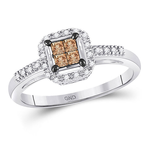 14kt White Gold Womens Princess Brown Diamond Square Cluster Ring 1/4 Cttw