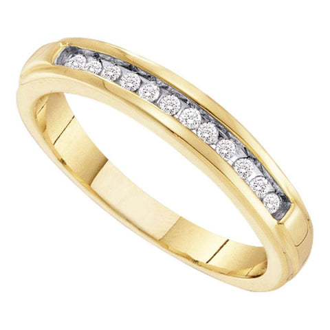 10kt Yellow Gold Womens Round Diamond Single Row Band Ring 1/8 Cttw