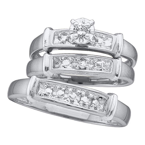 Sterling Silver His Hers Round Diamond Solitaire Matching Wedding Set 1/20 Cttw