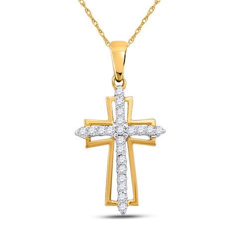10kt Yellow Gold Womens Round Diamond Cross Outline Religious Pendant 1/4 Cttw