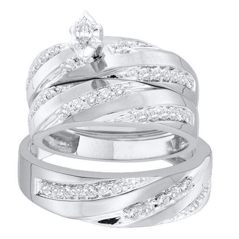 14kt White Gold His Hers Marquise Diamond Solitaire Matching Wedding Set 3/4 Cttw