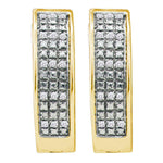 Yellow-tone Sterling Silver Womens Round Pave-set Diamond Triple Row Hoop Earrings 1/10 Cttw
