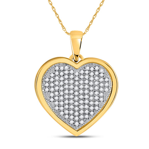 10kt Yellow Gold Womens Round Diamond Cluster Heart Pendant 1/3 Cttw