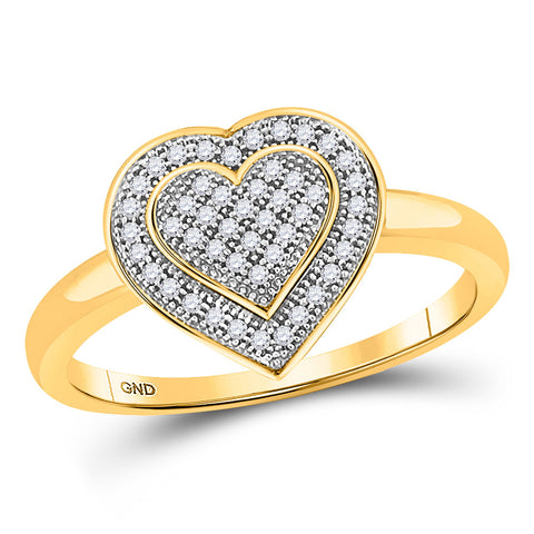 10kt Yellow Gold Womens Round Diamond Heart Ring 1/6 Cttw