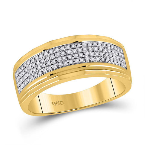 10kt Yellow Gold Mens Round Diamond Band Ring 1/3 Cttw