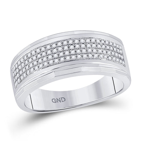 10kt White Gold Mens Round Diamond Pave Band Ring 1/3 Cttw