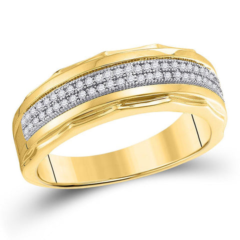 10kt Yellow Gold Mens Round Diamond Wedding Scalloped Edge Band Ring 1/5 Cttw