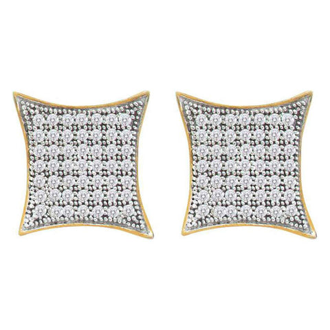 10kt Yellow Gold Womens Round Diamond Square Kite Cluster Earrings 3/8 Cttw