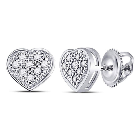 10kt White Gold Womens Round Diamond Heart Cluster Earrings 1/20 Cttw