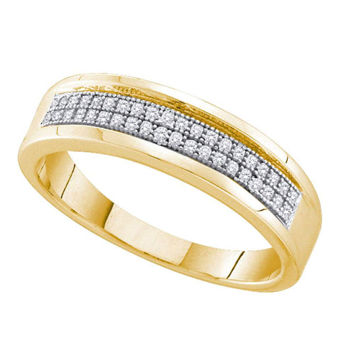 10kt Yellow Gold Womens Round Diamond Pave Band Ring 1/6 Cttw
