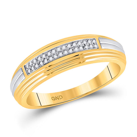 10kt Yellow Two-tone Gold Mens Round Diamond Double Row Wedding Band 1/10 Cttw