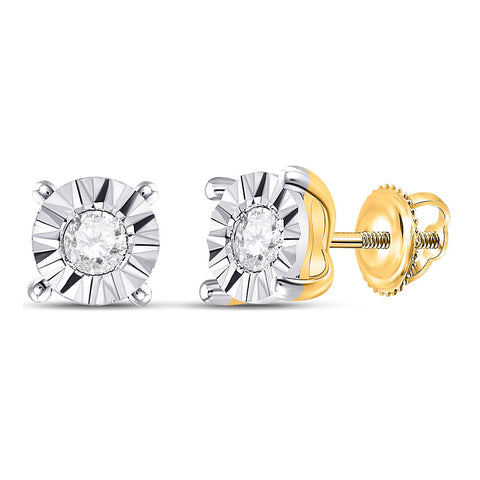 10kt Yellow Gold Womens Round Diamond Miracle Stud Earrings 1/6 Cttw